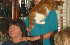 Johnnie helping to teach Reiki